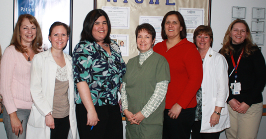 The Falls Team on 5 South, Hunterdon Medical Center. (l to r) Cindy Winchock, Cathy Edmonds, Kristy Alfano, Yvonne Kunz, Michele Betz, Pamela Abraham, and Michelle Tirado.