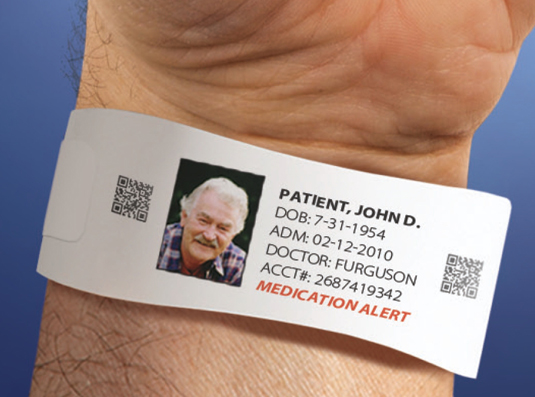 Photo 3: Barcoded Patient ID wristband from Standard Register. Photo Courtesy of Standard Register.