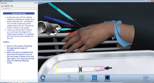Figure 3. Tactile VR users can feel in angles when inserting the catheter, and receive visual feedback such as infiltration (skin becoming swollen) when improper angles are used.